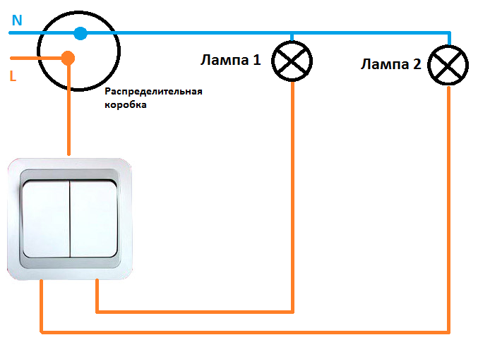 Схема подключения двух выключателей на одну розетку